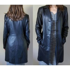 Danier Leather Jacket Long Trench Coat Size Small Black